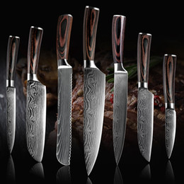 "Wholesale High quali Chef knife, 8 ""Professional Japanese stainless steel kitchen Chef knife imitation Damascus pattern sharp slicing Gift knife"
