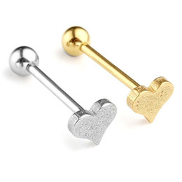 steel blast NZ - 14Ga (1.6mm) Percing Jewelry Tongue Ring Stainless Steel Heart Sand Blasting Leveraged Tongue Rings Body Piercing Jewelry