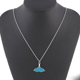 blue fish pendant UK - Fish tail Necklace Ocean Sea Blue Enamel Fish Dolphin Whale Tail Mermaid Pendant Necklaces Beautifully Luxury Jewelry Luminous Necklaces