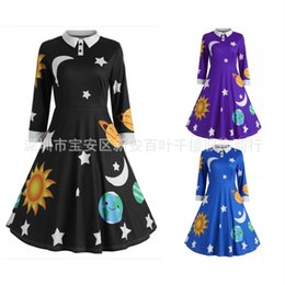 $enCountryForm.capitalKeyWord Australia - Cross-border Christmas long-sleeved lapel, sun, moon and Star printed retro dress for European and American women