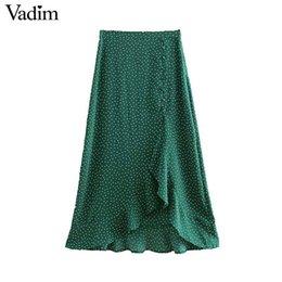 $enCountryForm.capitalKeyWord Australia - Vadim Women's Elegant Polka Dot Midi Skirt Split Design Keys Decorate Irregular Chic Women's Chic Sweet Medium Waden Rock Ba534 Y19071501