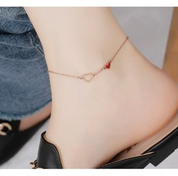 14k gold anklets Australia - Double love strokes peach rose gold anklet female simple sexy student exquisite girlfriends ankle chain foot ring jewelry wholesale