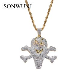 Pirate Pendants Australia - Hip Hop Cartoon Iced Out Corsair Skull Skeleton Pendant Cubic Zircon Ice Cream Pirate Necklace CN062