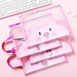 $enCountryForm.capitalKeyWord Australia - Cute Cartoon Pig Travel Cosmetic Bag Laser Mesh Zipper Makeup Case Make Up Bag Women Organizer Toiletry Storage Kit Wash Box