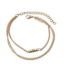 $enCountryForm.capitalKeyWord Australia - 2019 Wholesale Kids Square Beads Silver Gold Chain Bracelet Friendship Couple Charm Bracelets for Women Accessories Jewelry Gift