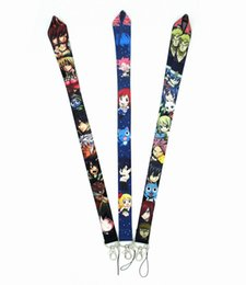 fairy tail keys wholesale UK - 20pcs Anime FAIRY TAIL Keychain Lanyards Id Badge Holder ID Card Pass Gym Mobile Phone USB Badge Holder Key Strap