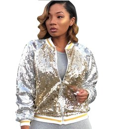 Women's Clothing Club Beading Pilot Jacket Colorful Sequins Baseball Coat Zipper Dance Performance Long-sleeved Cardigan Outwear Bomber Tops Attractive Designs;