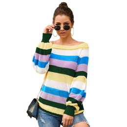 Wholesale off shoulder jerseys for sale – plus size 2019 Autumn Winter Knitted Sweater Women Casual Long Sleeve Pullover Vintage Sexy One Off Shoulder Sweater Jumper Jersey Mujer