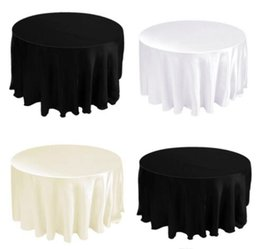 table tablecloths UK - Tablecloth Table Cover Round Satin for Banquet Wedding Party Decoration White Black Wholesales 90""
