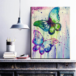 $enCountryForm.capitalKeyWord Australia - 1 Piece Modern Absract Canvas Art Watercolor Butterfly Oil Art Painting On Canvas For Living Room Bedroom Decoration No Framed