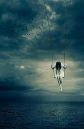 paint over canvas print 2019 - Ghost of a Young Girl Swinging Over the Ocean Art Silk Print Poster 24x36inch(60x90cm) 083 cheap paint over canvas print
