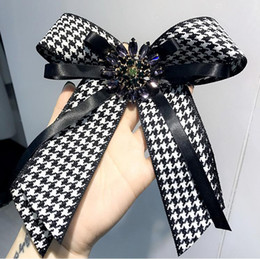 tie pin shirts Australia - Hot sale ! New High-grade college rhinestone gemstones houndstooth super large bow tie bow tie shirt collar pin pin female
