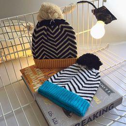 Free Knitting Kids Hats Australia - Fashion Designer Children Pom Beanies Kids Winter Warm Hats Pompom Sport Beanies Popular Knitted Head Ears Warmer Gift Sale