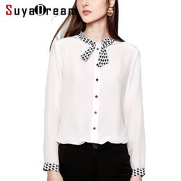 148c838eae4979 Women White Blouse 100% REAL SILK Crepe Long Sleeved Bow Collar Blouses for  Women 2019 Spring Summer Office lady shirt