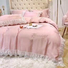 Silk tencel duvet coverS online shopping - Wedding Bedding Set Super Good Quality Girls lovely Pillowcase Concise Lace Pink Tencel Duvet Cover Ice Silk Bedding Sheet