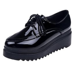 fa1bae252ba6 2019 Wedges Brogues Shoes Women Platform Lady Pumps Patent Leather High  Heels Lace Up Cut Out Casual Black Shoes