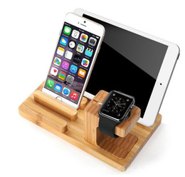 $enCountryForm.capitalKeyWord Australia - Phone Holder Desktop Mobile Stand for iPad Tablet Bracket Bamboo wood Charging Stand for Apple Watch Pad Phone