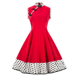 vintage pin up fashion UK - Women Sleeveless Fashion Summer Polka Dot Printed Casual Party Vintage Retro 50s 60s Rockabilly pin up Skater Knee Length dress Plus size