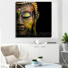 buddha art living room Canada - Multicolor Buddha Statue Buddhism Canvas Art Oil Printing Poster HD Picture Decraotion Print Decorative Living Room Home Decor