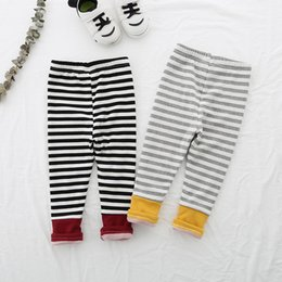 Kids Clothes Girl Autumn Winter Australia - Striped Pants Autumn Winter Clothing Baby Girls Leggings Children Pants Thick Warm Kids Clothes Velvet Leggings Girl Trousers