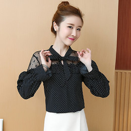 2f4b8d88eb0 Women Blouse Shirts Office Lady Dot Blouse Plus Size Fashion Korean Lace Print  Shirts and Tops Female Chiffon Hollow Out Blouses