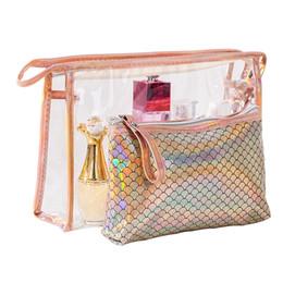 $enCountryForm.capitalKeyWord UK - 10SETS   LOT Women Cosmetic Bags Fish Scales Laser Zipper Make Up Bags Portable PVC Pouchs Travel Bag Girl Cosmetic Bag