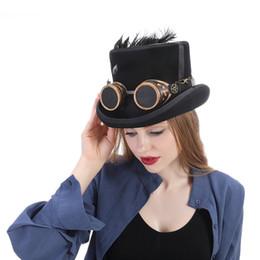Steam Punk Gears Australia - Top 13.5CM Wool Women Men Steampunk Top Hat With Handmade Steam Punk Glasses Gear Feather Fedora Cosplay Hat