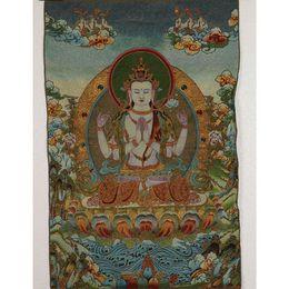 $enCountryForm.capitalKeyWord Australia - Tibet Collectable Silk Hand Painted Four walls Kwan-yin Thangka RK051+a