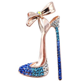 Chinese  Romantic Purple Blue Crystal High-heeled Shoes Brooches for Women Wedding Party Jewelry Dress Shirt Collar Vintage Pins manufacturers