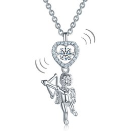 necklaces pendants Australia - Love Angel Heart Dancing Stone Kids Girl Pendant Necklace Solid 925 Sterling Silver Children Jewelry CFN8070 Dropshipping Service Available