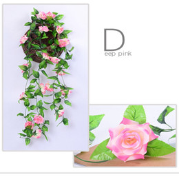 wholesale roses plants Australia - 1 2PC 230cm Artificial Flower Vines Wedding Decor Rose Fake Flowers Rattan String Garden Hanging Garland Silk Flower Plant Leaf