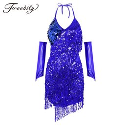sexy belly dance clothing UK - New Sexy Women Professional Latin Dance Clothes Sparkling Sequins Latin Dance Dress Tassel Tango Stage Performance Costumes