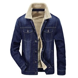 sherpa collar 2021 - Men's Plus Cotton Warm Fur Collar Sherpa Lined Denim Jacket Button Down Classy Casual Quilted Jeans Coats Outwear d