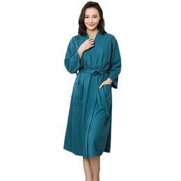 $enCountryForm.capitalKeyWord NZ - Plus Size Women Kimono Bathrobe Cotton Long Sleepwear Chinese Bride Bridesmaid Wedding Robe Sexy Nightgown Lady Solid Nightwear Y19071901