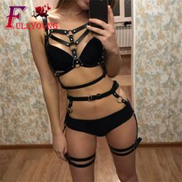 $enCountryForm.capitalKeyWord Australia - Fullyoung Leather Harness Underwear 2 Piece Set Garter Belts Sexy Women Waist To Leg Bondage Cage Straps Bra Garter Body Belts