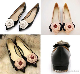 wide pointed toe flats Australia - 2019 Women Flats Genuine Leather Ballet Shoes Camellia Flowers Mixed Colors Shallow Mouth Pointed Toe Flat Shoes Lady
