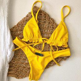 $enCountryForm.capitalKeyWord Australia - Two Piece Set Ruffles Lace Up Bandage Strap Slim Sexy Women Beach Bikini Tankini Swimsuit Swimwear Lingerie Bra Bathing Suit
