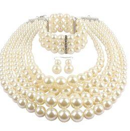 98e4709f4466 Conjuntos de bisutería de perlas de fantasía de múltiples capas perlas  Conjuntos de joyería de moda para mujer de las señoras Granos de acrílico  largos ...