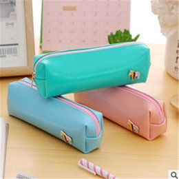 Color Leather Bags Australia - Fresh Style Candy Color Horse PU Leather Pencil Case Stationery Storage Bag Escalar Papelaria Escolar School Supplies
