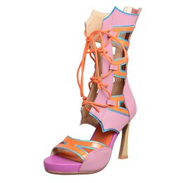 2faf7be869f2 fashion mixed color hollow out sandals women summer boots shoes thick sole  high heel sexy lady gladiator sandals open toe shoes