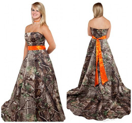 $enCountryForm.capitalKeyWord Australia - New Camo Wedding Dress with Orange Sash Strapless Corset Back Plus Size Camo Themed Forest Country Camouflage Bridal Gowns Cheap