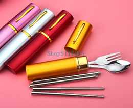 cutlery wedding gifts Canada - 100Pcs Personalized Wedding Favors Stainless Steel Cutlery Set Tableware Chopsticks Fork Spoon Customized Wedding Party Gifts