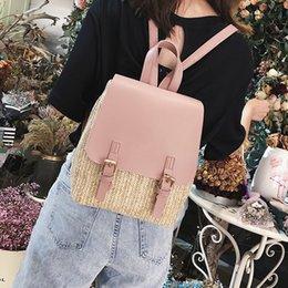 $enCountryForm.capitalKeyWord Australia - Black Pink Straw Woven Women Backpack Mini Small Pu Leather Schoolbags For Teenage Girls High Quality Back Pack Women 2018 New Y19061204