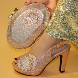 Shoe Purse Matching Australia - Designer 2019 Newwst Style Fashion Crystal Champagne Woman Shoes And Bag Set Italian Style Woman Shoes And Matching Purse Set For Party