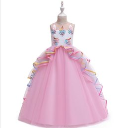 girls tutu dresses 12y 2019 - Baby Girl Unicorn Dress 2019 Summer Floor Length Appliqued Pearl Dress Clothing Wear Cosplay Costume Halloween Christmas