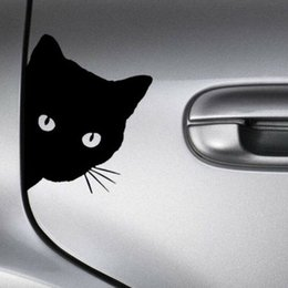 cat decals for car windows UK - Home & Garden Creative Black Cat Face Peeking Car Stickers Automotive Decal Window Decoration Reflective Sticker Window Door Sticker