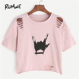 $enCountryForm.capitalKeyWord Australia - Romwe Pink Gesture Print Ripped Crop T-shirt Spring Round Neck Short Sleeve Rock Tee Women Cut Out Casual Top Q190522