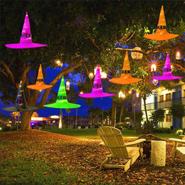 Halloween Decoration Hanging Lighted Glowing Witch Hat for Yard Tree Party Decoration Props Halloween Costume JK1909 on Sale