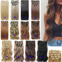 Wholesale 16 Clip Long 26 Inches Straight Hair No Trace Hair Extension Natural Wave Lady Full Head Card Hair Extension Headwear Synthetic Pieces