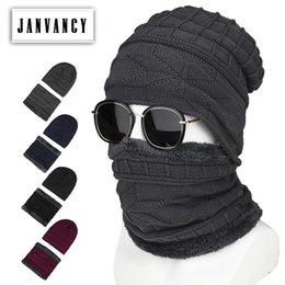 28047dfb Winter Knitted Geometric pattern Warm Hats and Scarf for Men Trendy Outdoor  Flexible Plush lining Skin-friendly Beanies Cycling